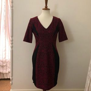 Maggy London Black and Red Patterned Dress